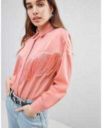 ASOS - Design Oversized Shirt With Fringing - Lyst