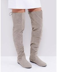 Daisy Street - Lace Back Grey Over The Knee Boots - Lyst