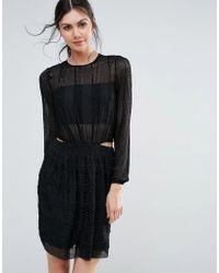 Endless Rose - Long Sleeve Textured Skater Dress - Lyst