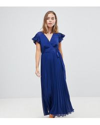 ASOS - Pleated Maxi Dress With Flutter Sleeve - Lyst