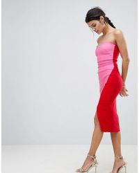 Vesper - Sweetheart Bandeau Pencil Dress With Contrast Wrap Skirt - Lyst
