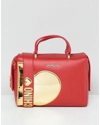 Love Moschino - Gold Heart Handle Bag With Strap - Lyst