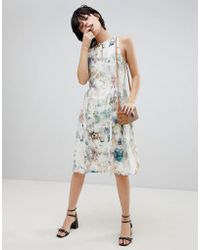 Paisie | Floral Keyhole Dress With Gathered Waist | Lyst