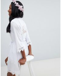 ASOS - Design Bride Kimono Robe With Lace Trim - Lyst