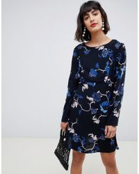 Pieces Long Sleeve Floral Printed Mini Dress In Black - Blue