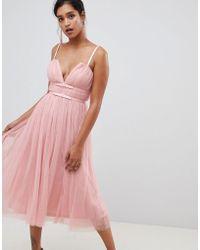ASOS - Tulle Midi Dress With Ribbon Waist - Lyst