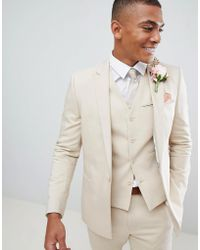 ASOS - Wedding Skinny Suit Jacket With Square Hem In Stone - Lyst