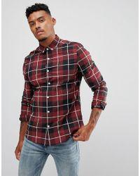 ASOS - Skinny Check Shirt In Burgundy - Lyst