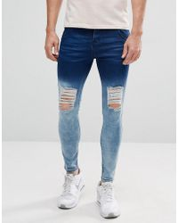 Illusive London | Super Skinny Jeans With Blue Fade And Distressing | Lyst