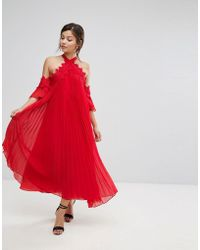 True Decadence - Pleated Swing Dress With Cold Shoulder Detail - Lyst