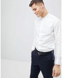 Mango - Man Longline Grandad Shirt In White - Lyst