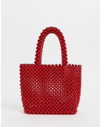 New Look - Beaded Mini Tote In Red - Lyst