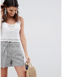 Oasis - Tailored Shorts With Tie Waist In Grey Stripe - Lyst