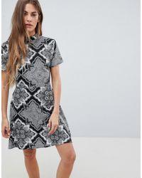 Daisy Street - High Neck Printed Dress - Lyst