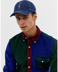 dce6ccc4b98 Polo Ralph Lauren - Baseball Cap With Polo Player In Dark Wash Denim Blue -  Lyst