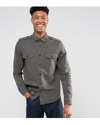 ASOS DESIGN - Tall Military Overshirt In Khaki - Lyst