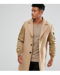 DIESEL - Camel Coat Contrast Sleeves - Lyst