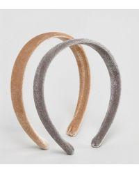 ASOS - Design Pack Of 2 Velvet Headbands - Lyst