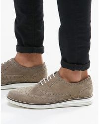 Dune - Brogues In Grey Suede With Contrast Sole - Lyst