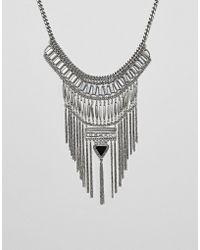 ASOS - Design Statement Stone And Chain Fringe Necklace - Lyst