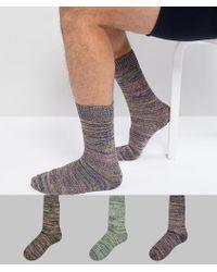ASOS - Textured Socks In Neon Random Feed Design 3 Pack - Lyst