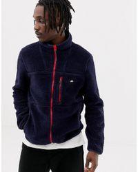 Penfield Honan Borg Fleece Jacket Contrast Zip In Navy - Blue