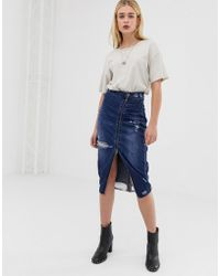 One Teaspoon - Midi Skirt With Zip And Rip Detail - Lyst