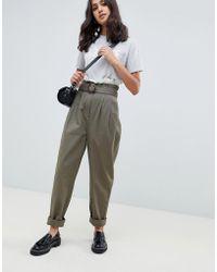 ASOS Peg Pants With Lace Paperbag Waist