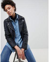 Stradivarius - Leather Look Biker Jacket - Lyst