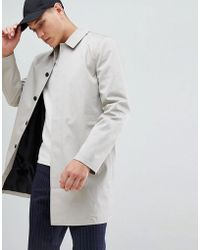 New Look - Single Breasted Cotton Mac In Stone - Lyst