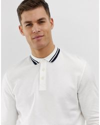 8d5b5d42a Jack   Jones - Premium Long Sleeve Polo Shirt With Collar Tipping In Waffle  Texture Cotton