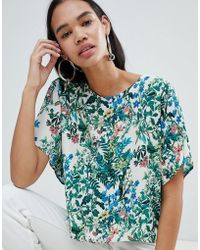 Weekday - Floral Print Woven T-shirt - Lyst