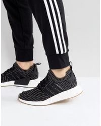 adidas Originals - Nmd R2 Primeknit Trainers In Black By9696 - Lyst