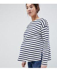 ASOS - Asos Design Maternity Stripe Top In Baby Loop Back - Lyst