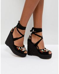 ASOS - Tamiko Embroidered High Wedges - Lyst