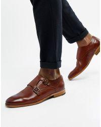 ASOS - Zapatos monk de cuero en color tostado con panel en relieve de - Lyst