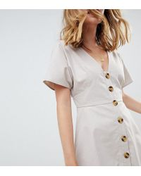 ASOS - Asos Design Petite Button Through Mini Casual Skater Dress - Lyst