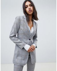 NA-KD - Co-ord Tailord Check Blazer In Grey - Lyst