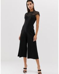 Lipsy - Culotte Jumpsuit With Embellished Yoke In Black - Lyst