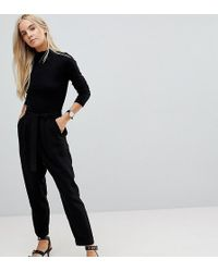 ASOS - Asos Design Petite Woven Peg Trousers With Obi Tie - Lyst