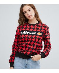 Ellesse - Relaxed Sweatshirt With Front Logo In Houndstooth - Lyst