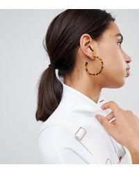 Reclaimed (vintage) - Inspired Tort Hoop Earring - Lyst