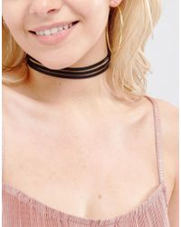 Vanessa Mooney - Leather Look Choker With Gold Plated Chain - Lyst