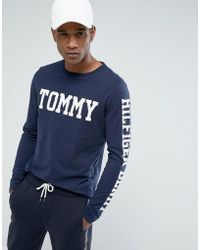 Hilfiger Denim - Tommy Long Sleeve Top Tommy Sleeve Logo In Navy - Lyst