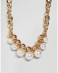 ASOS - Design Statement Necklace With Large Pearls And Chunky Chain In Gold - Lyst