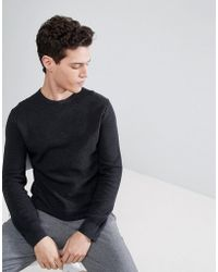 Polo Ralph Lauren - Texure Pima Cotton Knit Jumper Crew Neck Polo Player In Black Marl - Lyst