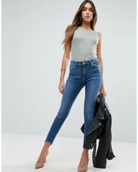 ASOS - Ridley Skinny Jeans In Roy Dark Stonewash With Stepped Hem - Lyst
