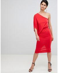 ASOS - Design One Shoulder Drape Pencil Dress - Lyst