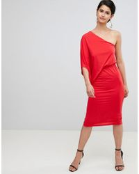 ASOS - One Shoulder Drape Pencil Dress - Lyst