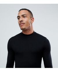 ASOS - Tall Muscle Fit Long Sleeve T-shirt With Turtle Neck In Black - Lyst